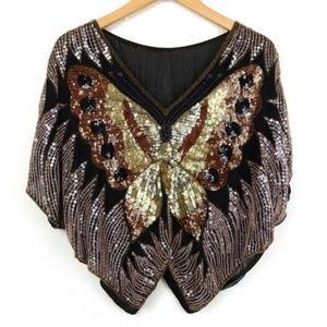 Vintage Butterfly Sequin Silk Top Glam Boho Crop